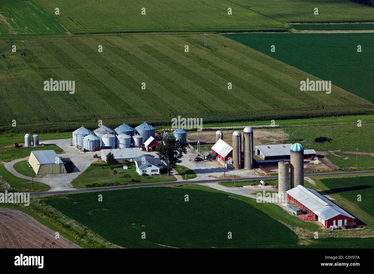aerial view above silos farm buildings southern Illinois - Stock Image