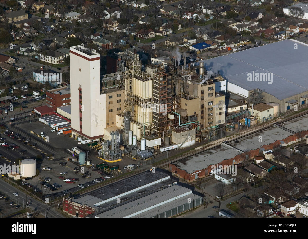 aerial view above petrochemical complex Port of Houston Texas - Stock Image