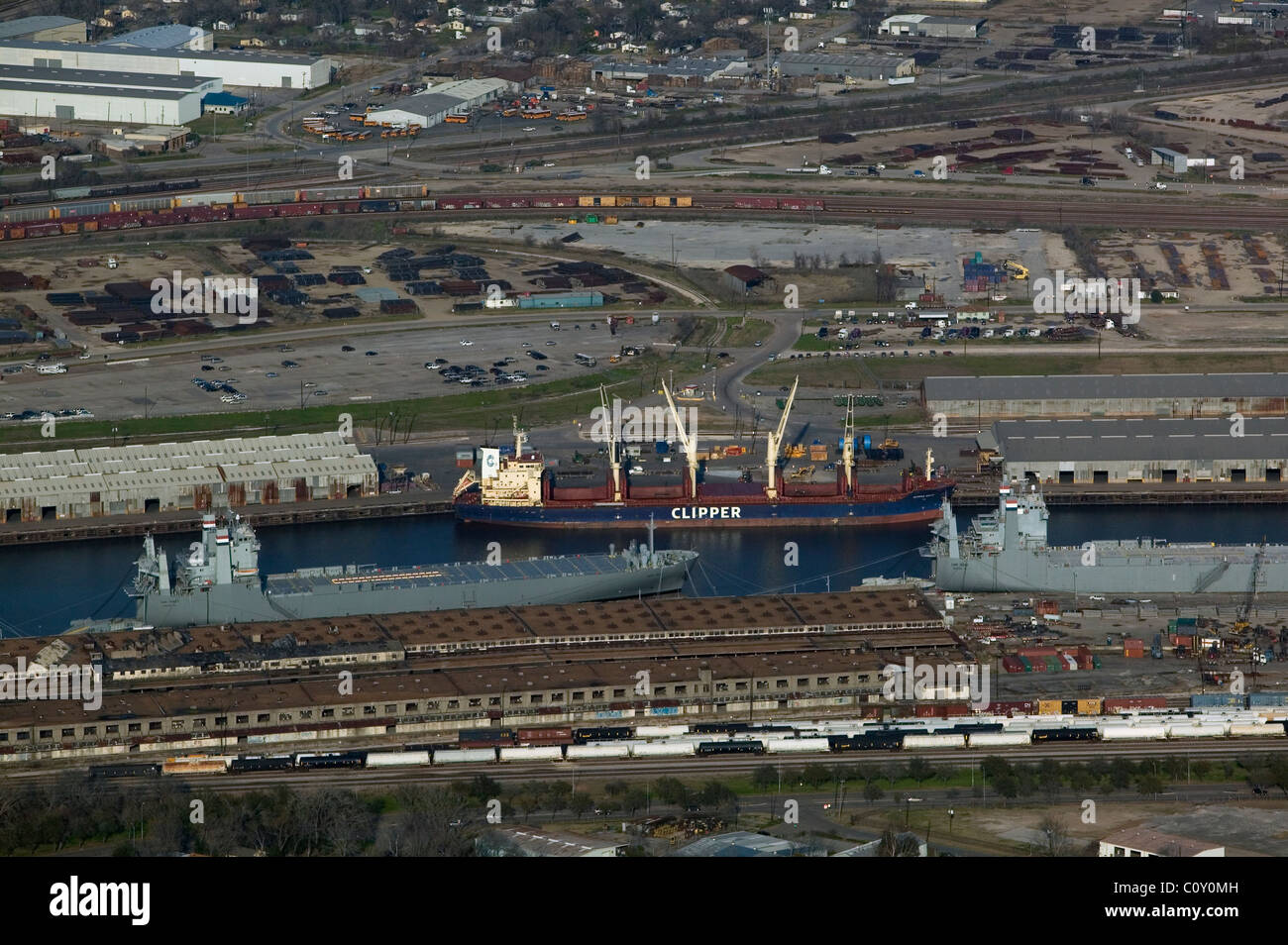 aerial view above moored vessels including vehicle cargo ship MV Cape Trinity Port of Houston Texas - Stock Image