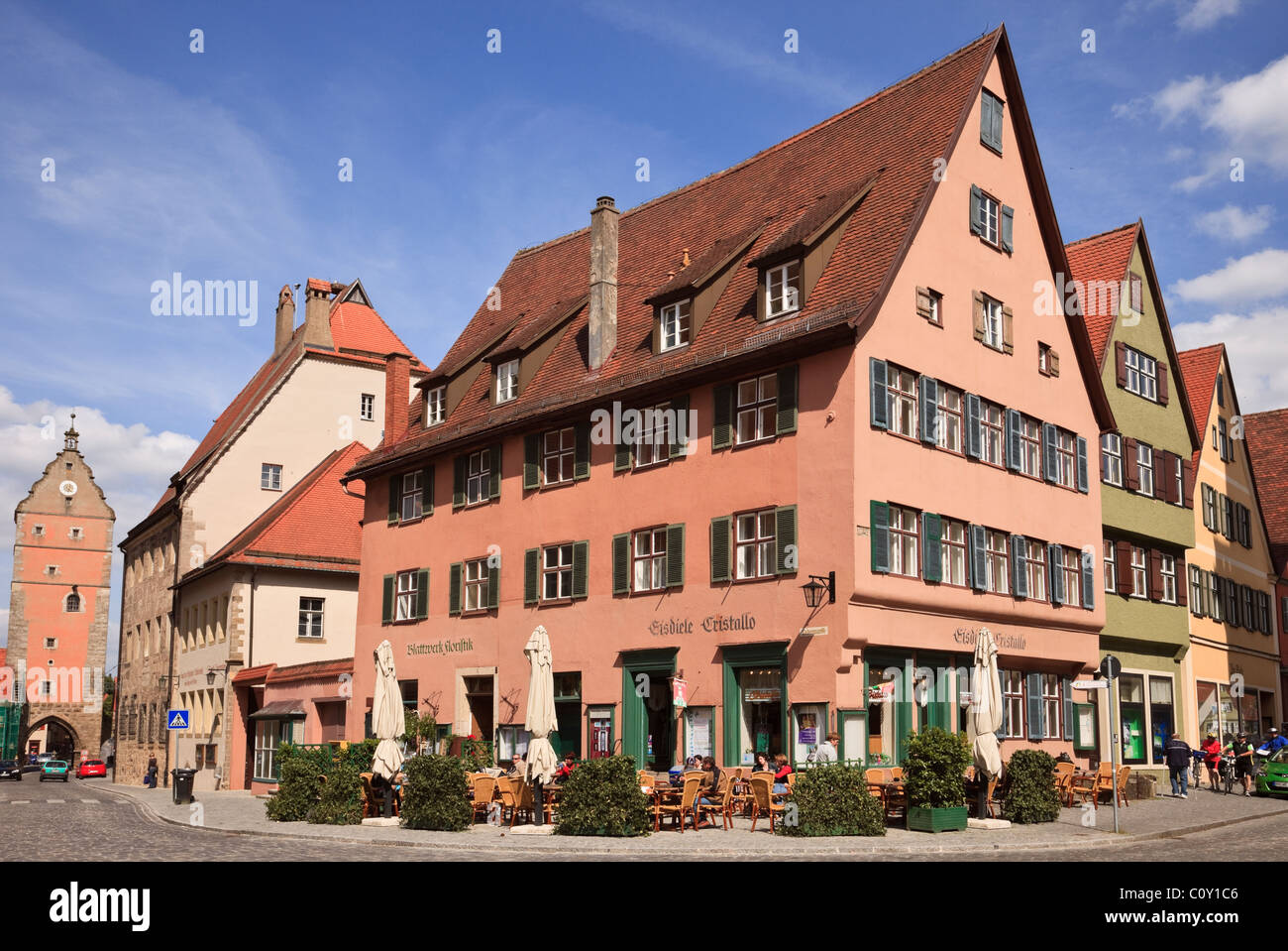 Dinkelsbühl, Bavaria, Germany. Street scene and old buildings by Wörnitz gate in medieval old town on - Stock Image