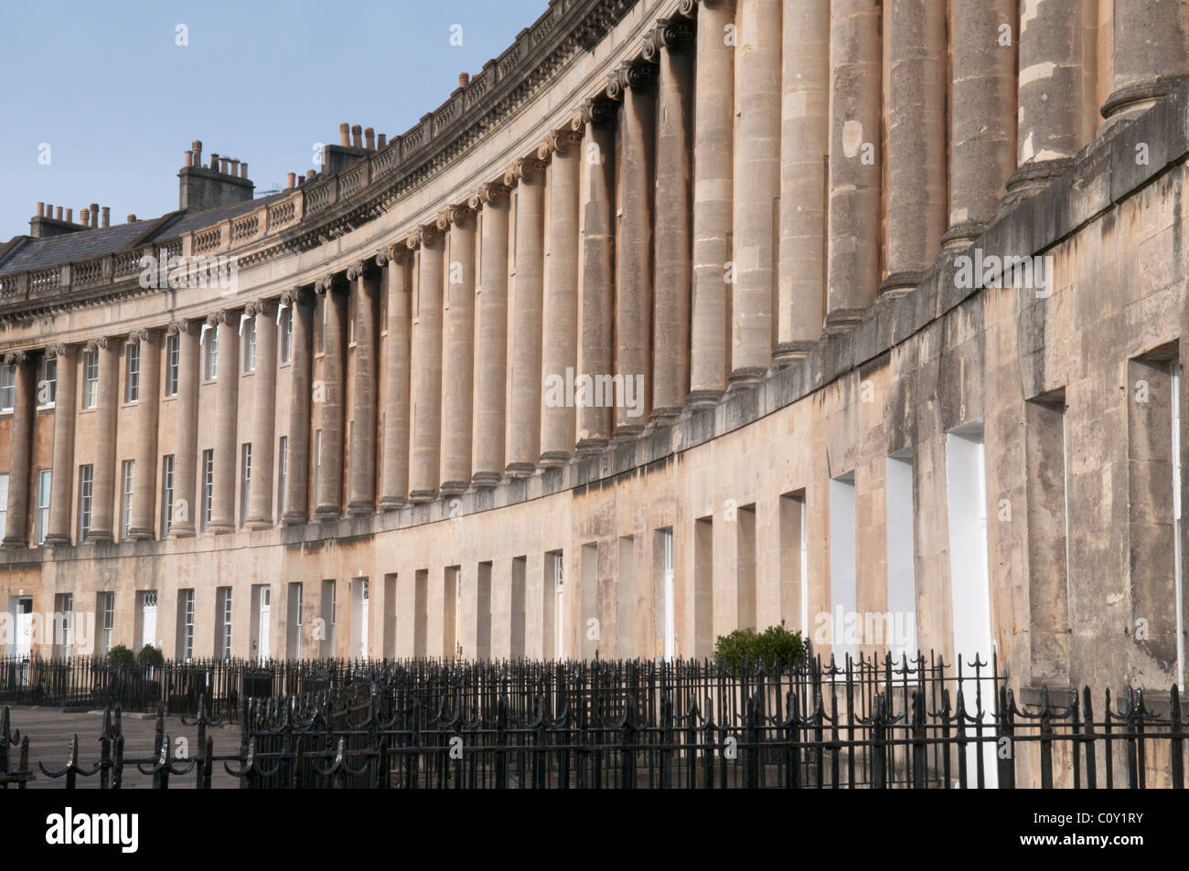 Bath, Somerset, UK. The Royal Crescent. Georgian architecture. Designed by John Wood the Younger. Built between - Stock Image