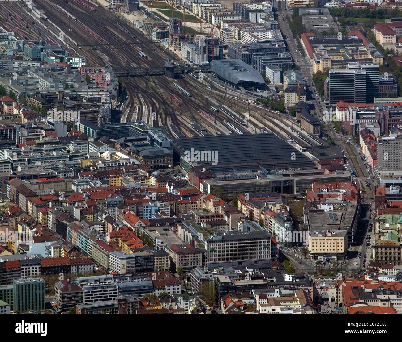 aerial view above central rail station Munich München Hauptbahnhof Germany - Stock Image