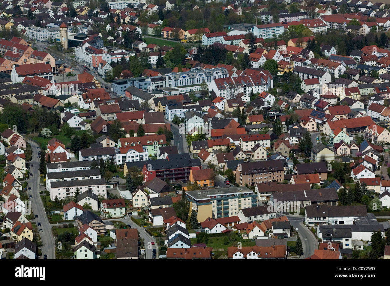 aerial view above Augsburg Germany Stock Photo