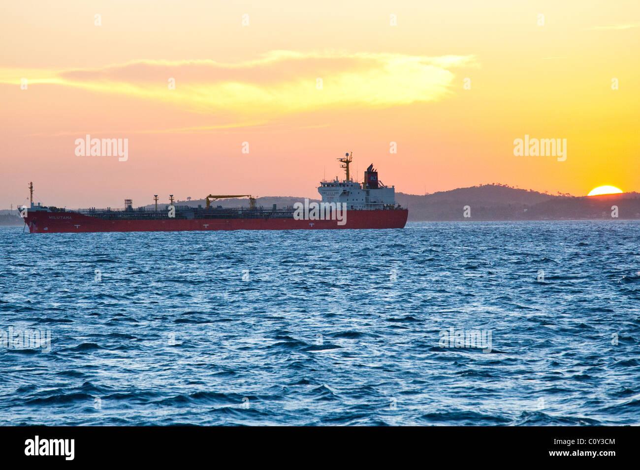 Tanker in Baia de Todos os Santos or Bay of all Saints, Salvador, Brazil - Stock Image