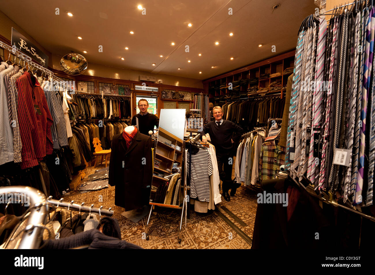 Brian John The Owner Of A Small Independent Mens Clothing Shop In Stock Photo Alamy
