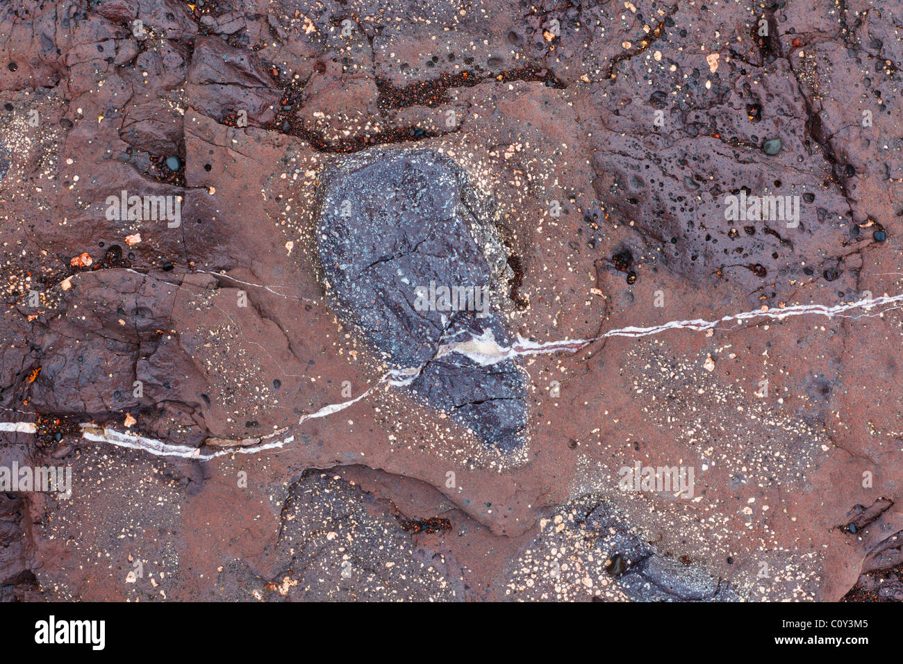 Detail of ancient eroded rock on the shore of Lake Superior showing quartz vein and various colorful mineral inclusions. - Stock Image