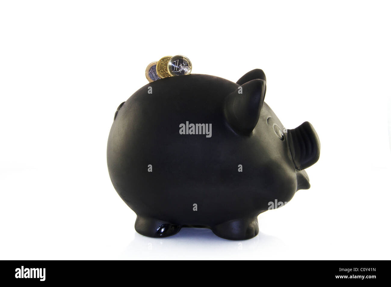 Piggybank with Euro Coins - Stock Image