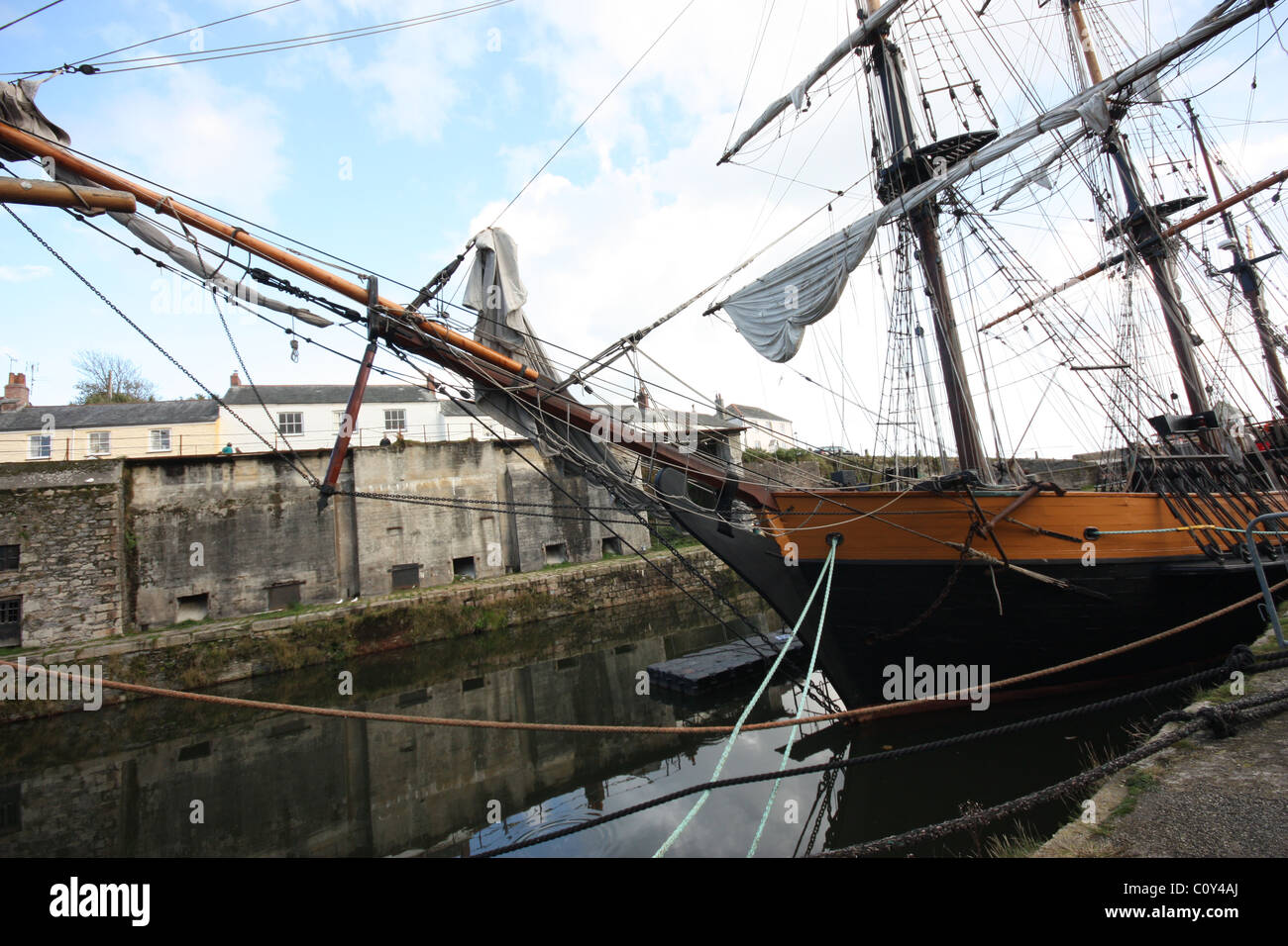 Tall Ships in Charlestown  harbour, Cornwall Stock Photo