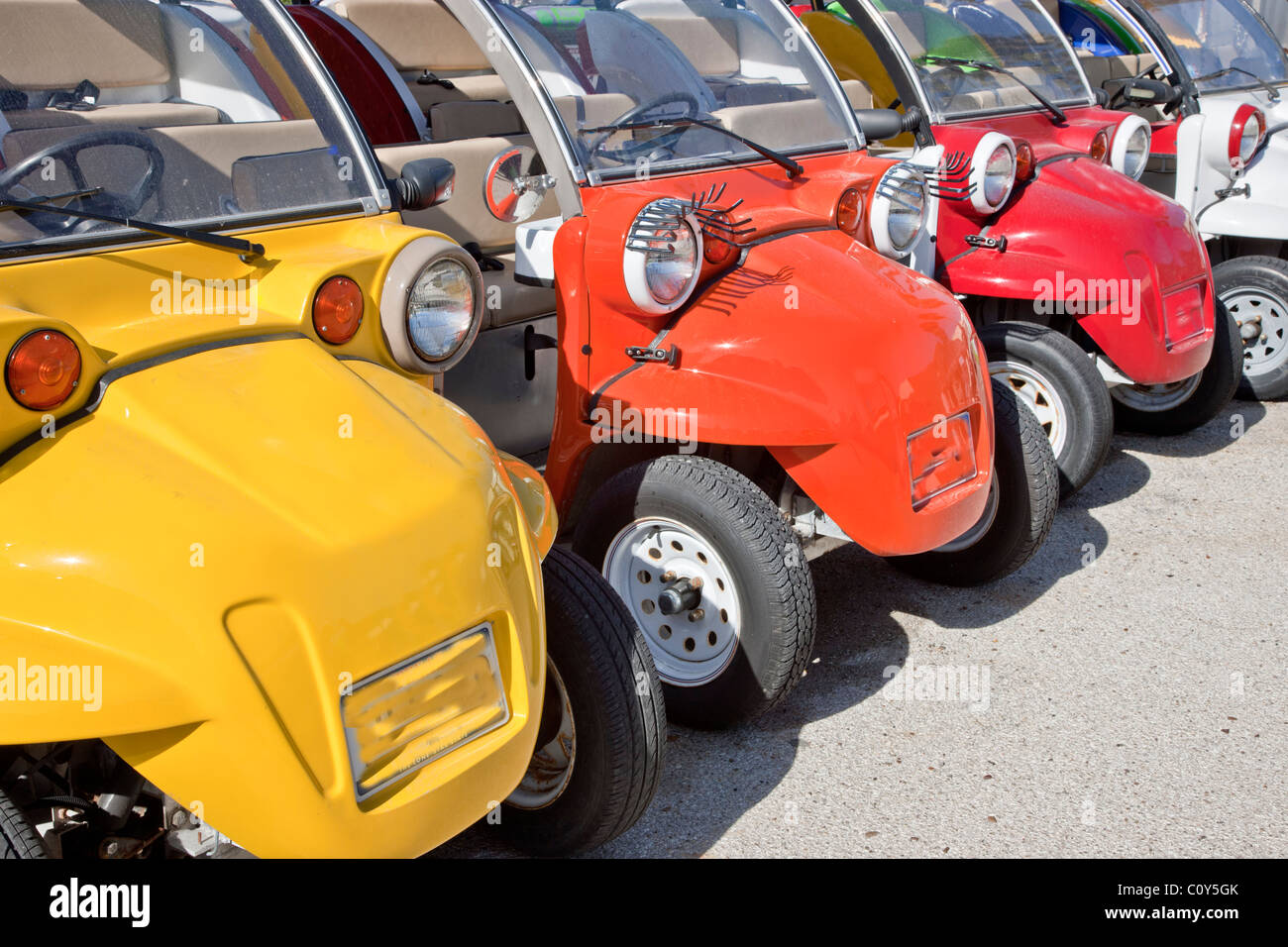 Colorful electric buggies, - Stock Image
