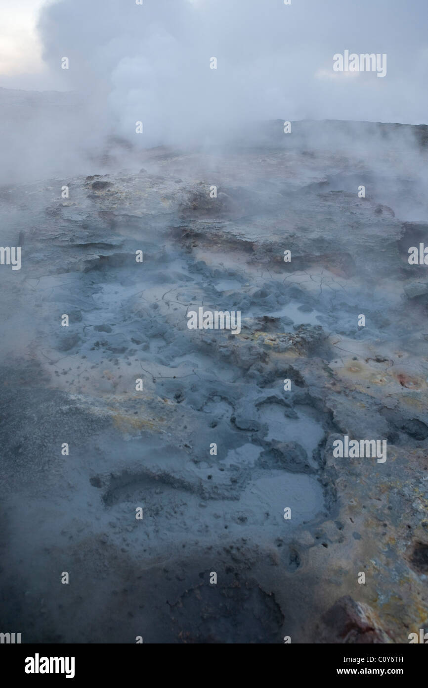 Iceland - Fumaroles and mudpots and sulphur deposits around the Reykjanes Geothermal power station in Iceland - Stock Image