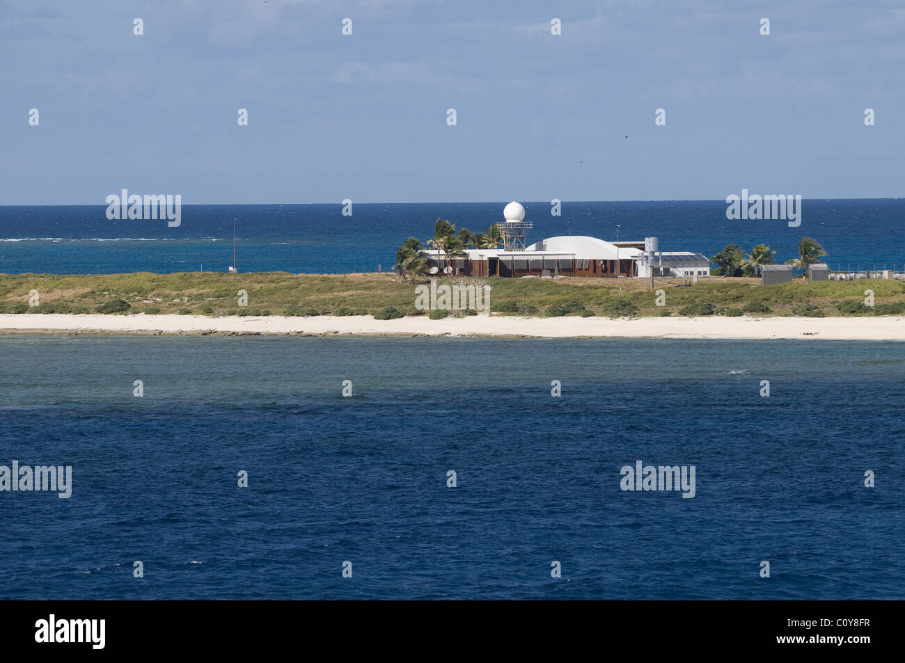 Weather monitoring station on Willis Island located beyond the Great Barrier Reef in the Coral Sea Territory, Queensland - Stock Image