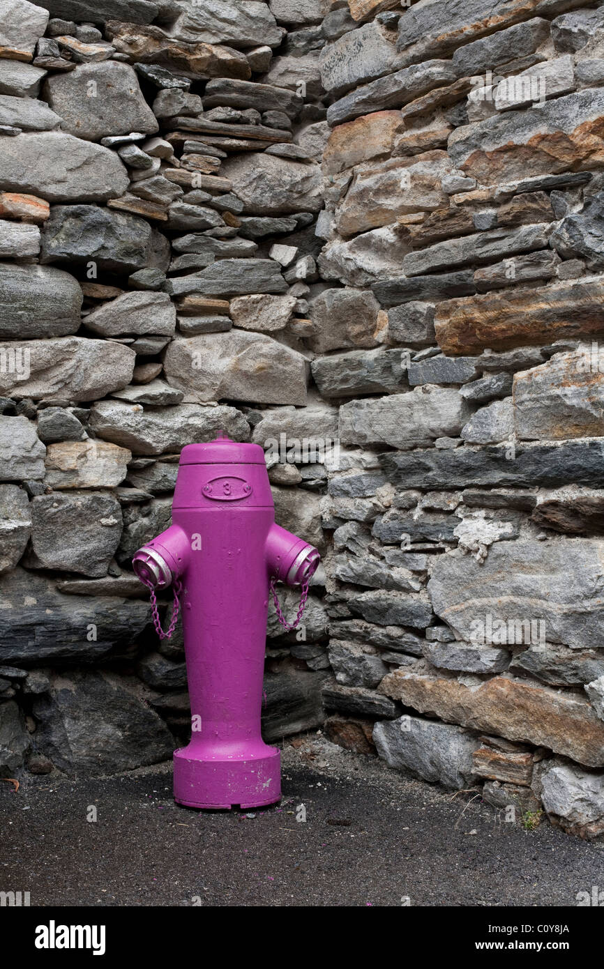 A brightly painted Swiss fire hydrant. - Stock Image