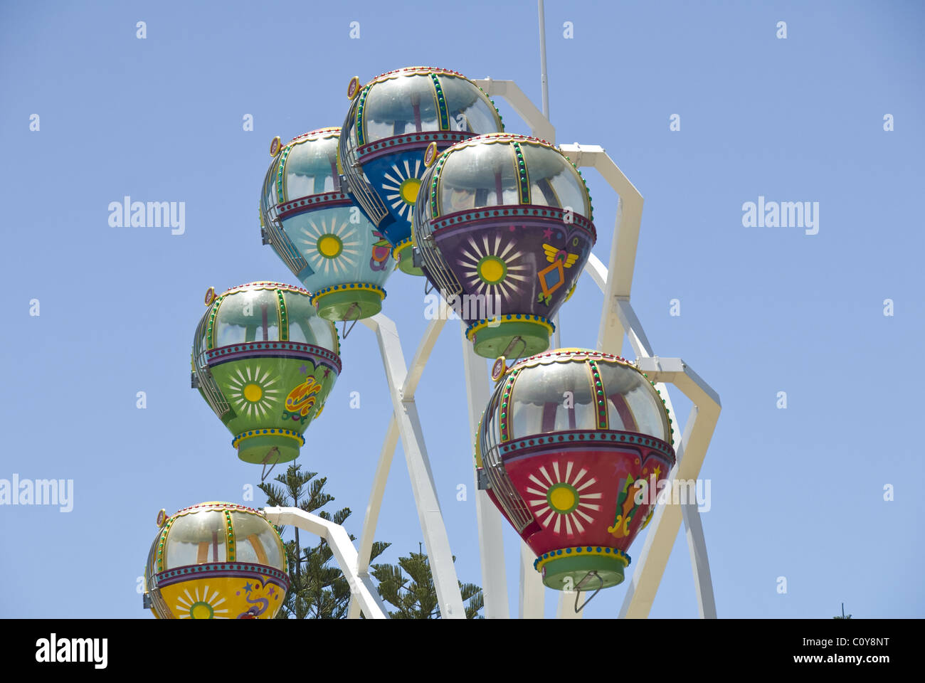 Colorful small ferris wheel Amusement park in Glenelg a suburb of Adelaide, South Australia - Stock Image