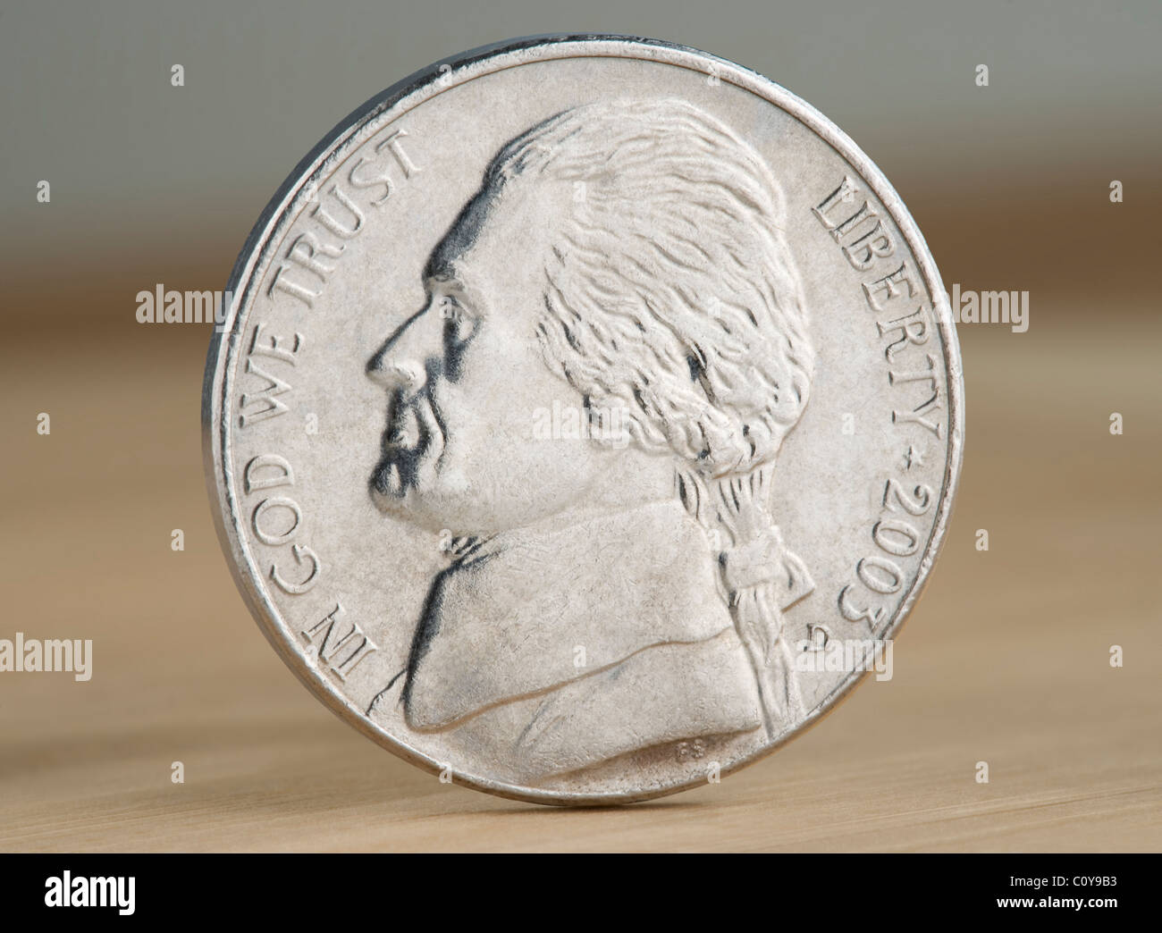 2010 US nickel coin. The face value of 5 cents is now less than the value of the metals in the coin. - Stock Image