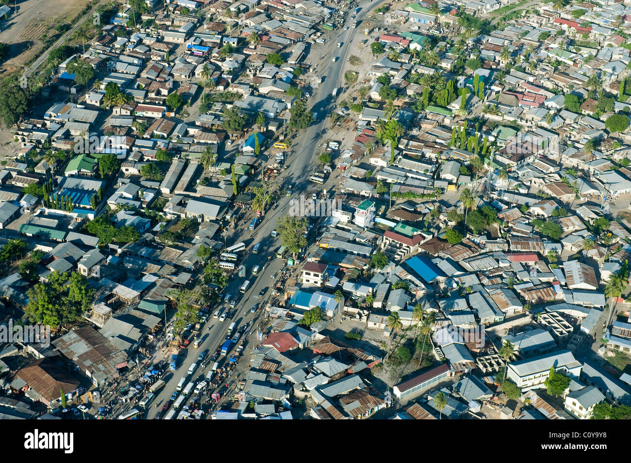 Busy road in a suburb of Dar es salaam aerial view Tanzania - Stock Image