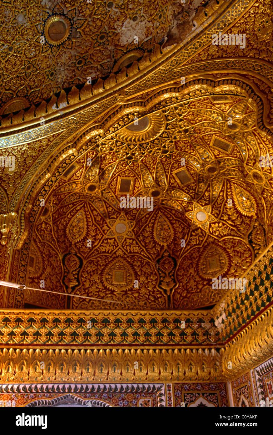 Amritsar India Sri Harmandir Golden Temple Second Floor Detail Of Gold Work - Stock Image