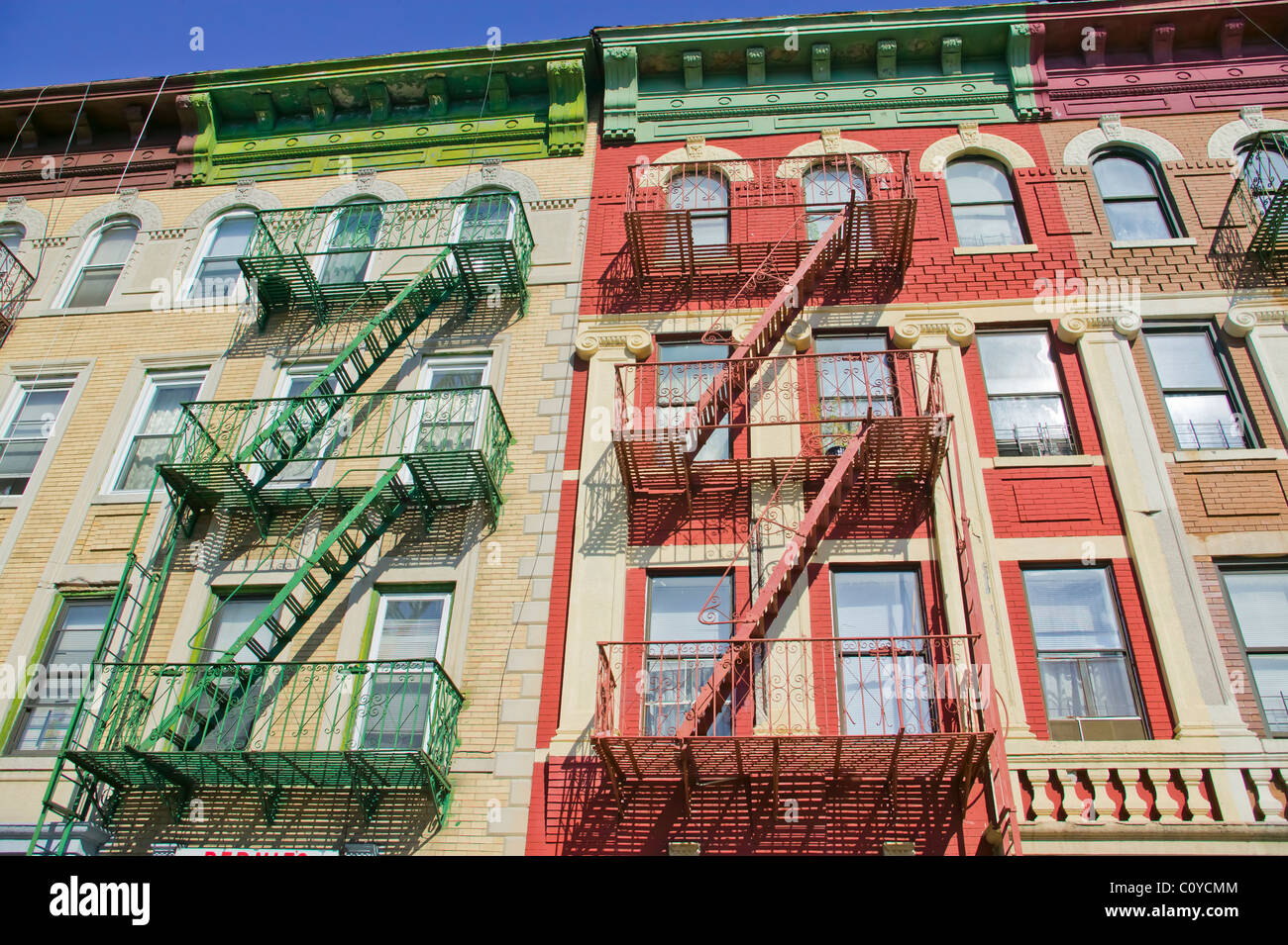 Colorful Row Houses in Brooklyn, New York - Stock Image