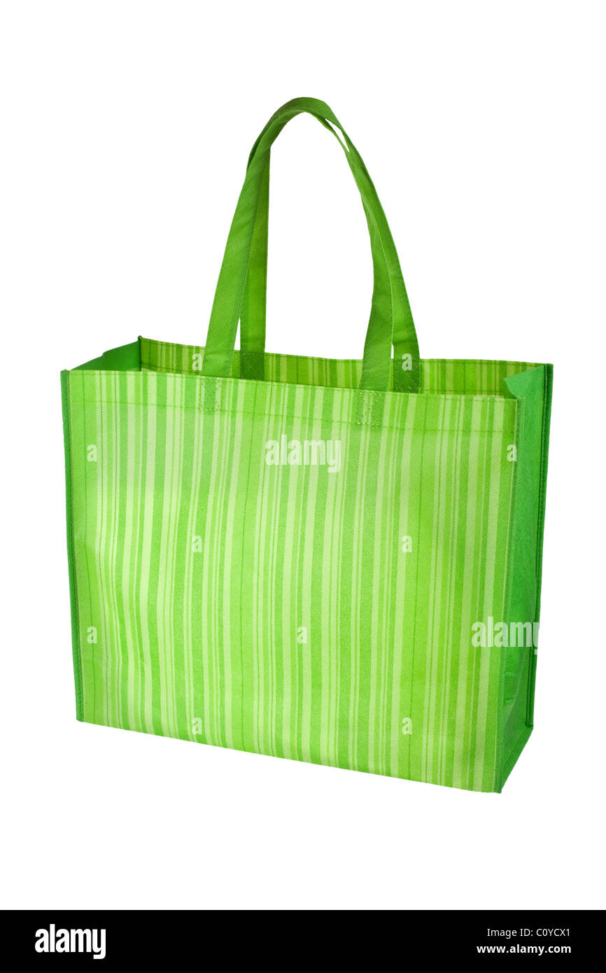 Empty green reusable grocery bag isolated on white background - Stock Image