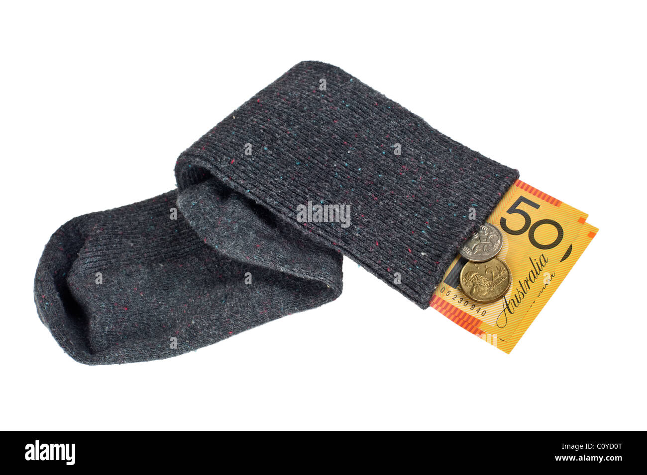 Aussie currency in a sock isolated on white background - Stock Image