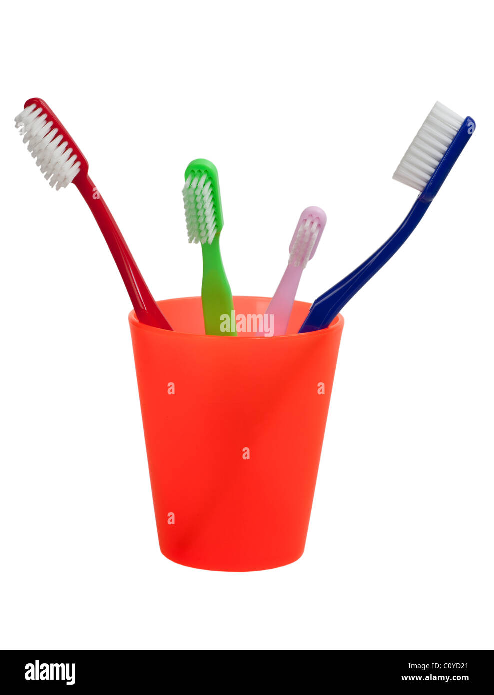 Family of different size toothbrush in a cup isolated on white background - Stock Image