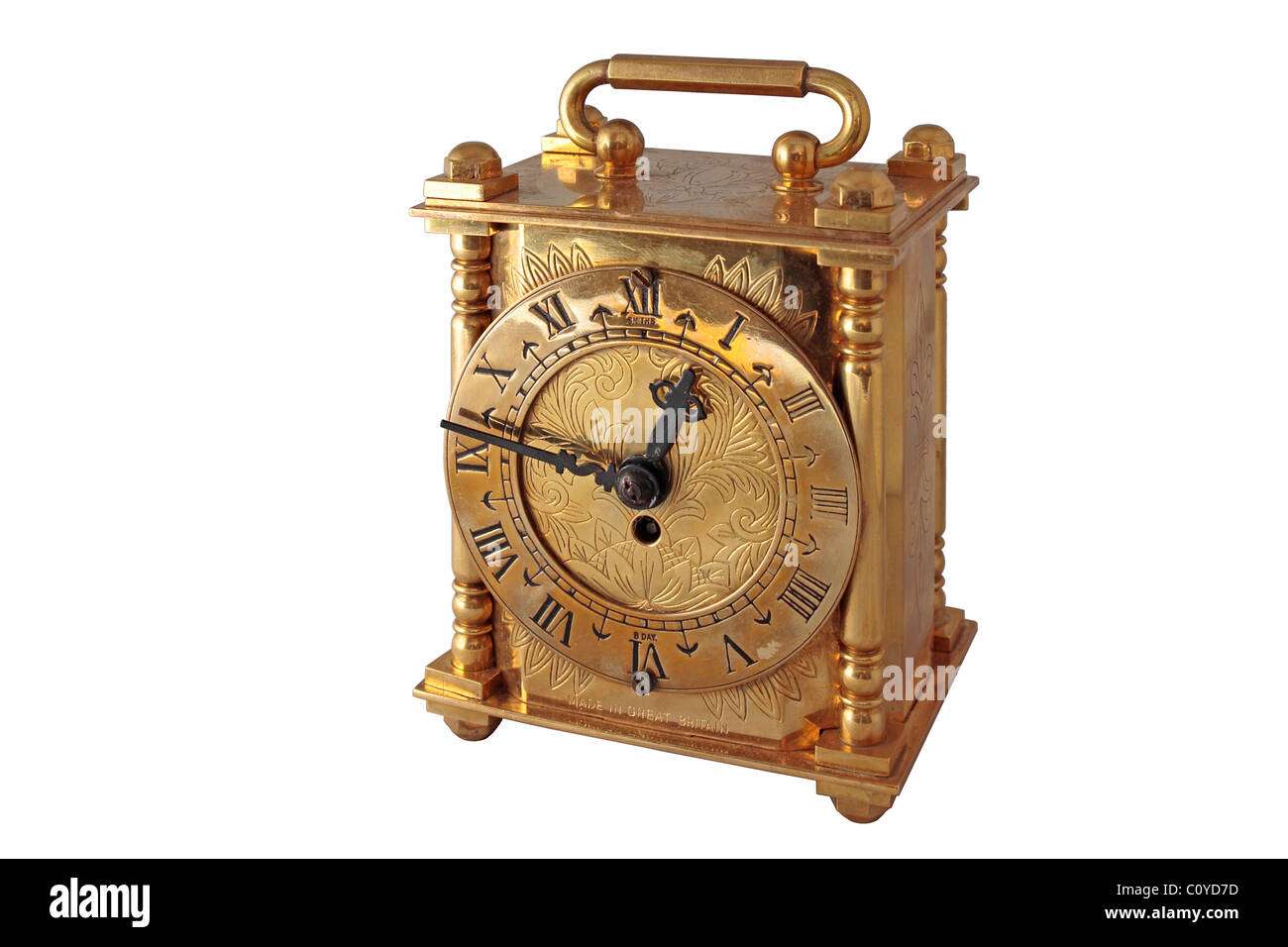 Old Brass Carriage Clock - Stock Image