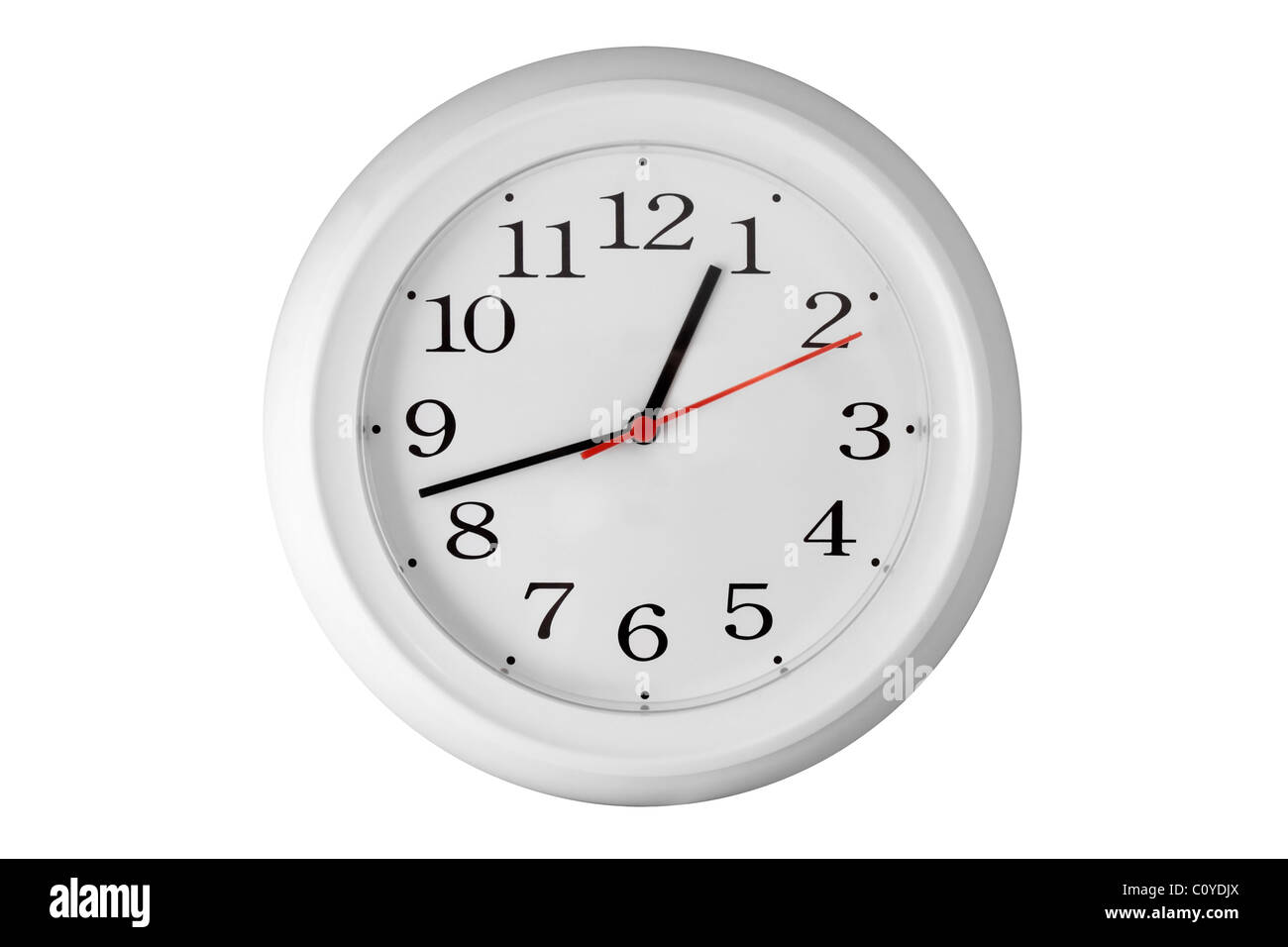 A Plain White Kitchen Wall Clock with Bright Red Second Hand - Stock Image