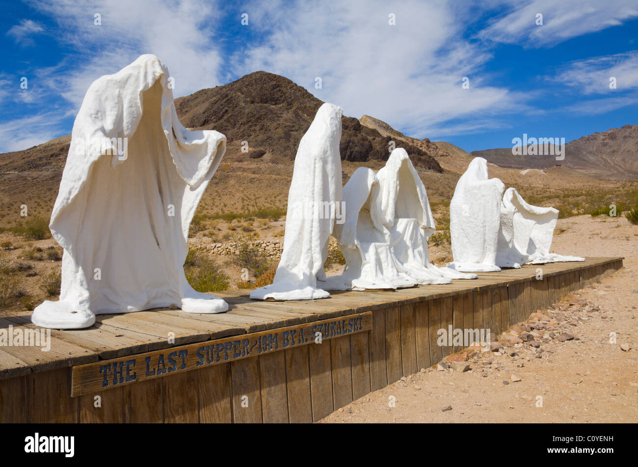 Ghosts sculptures by Belgian artists at Goldwell open air Museum near Rhyolite in the Armagosa desert near Beatty - Stock Image