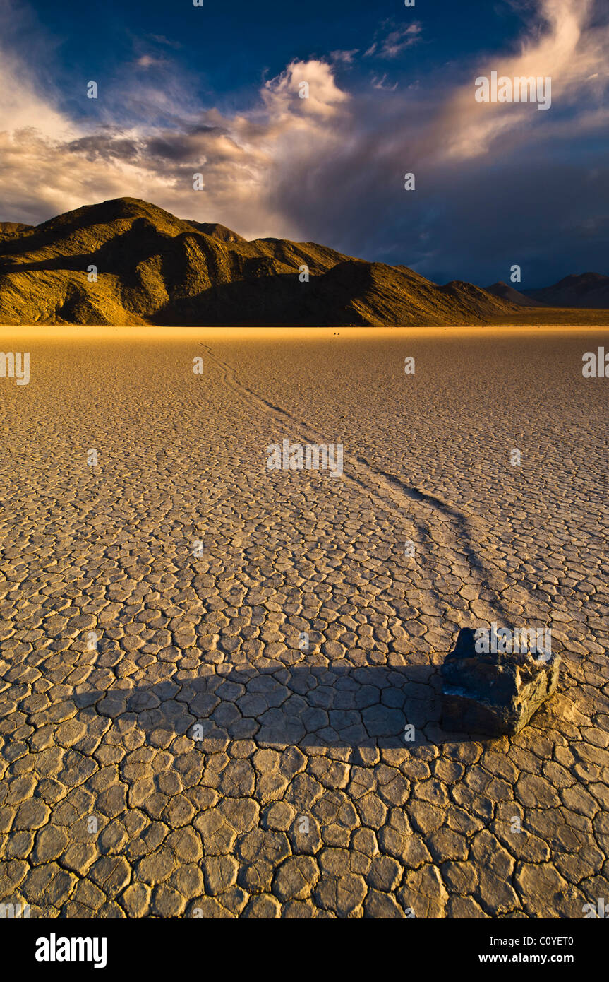 The Grandstand in Racetrack Valley known for it's sliding rocks on the Racetrack Playa Death Valley National - Stock Image