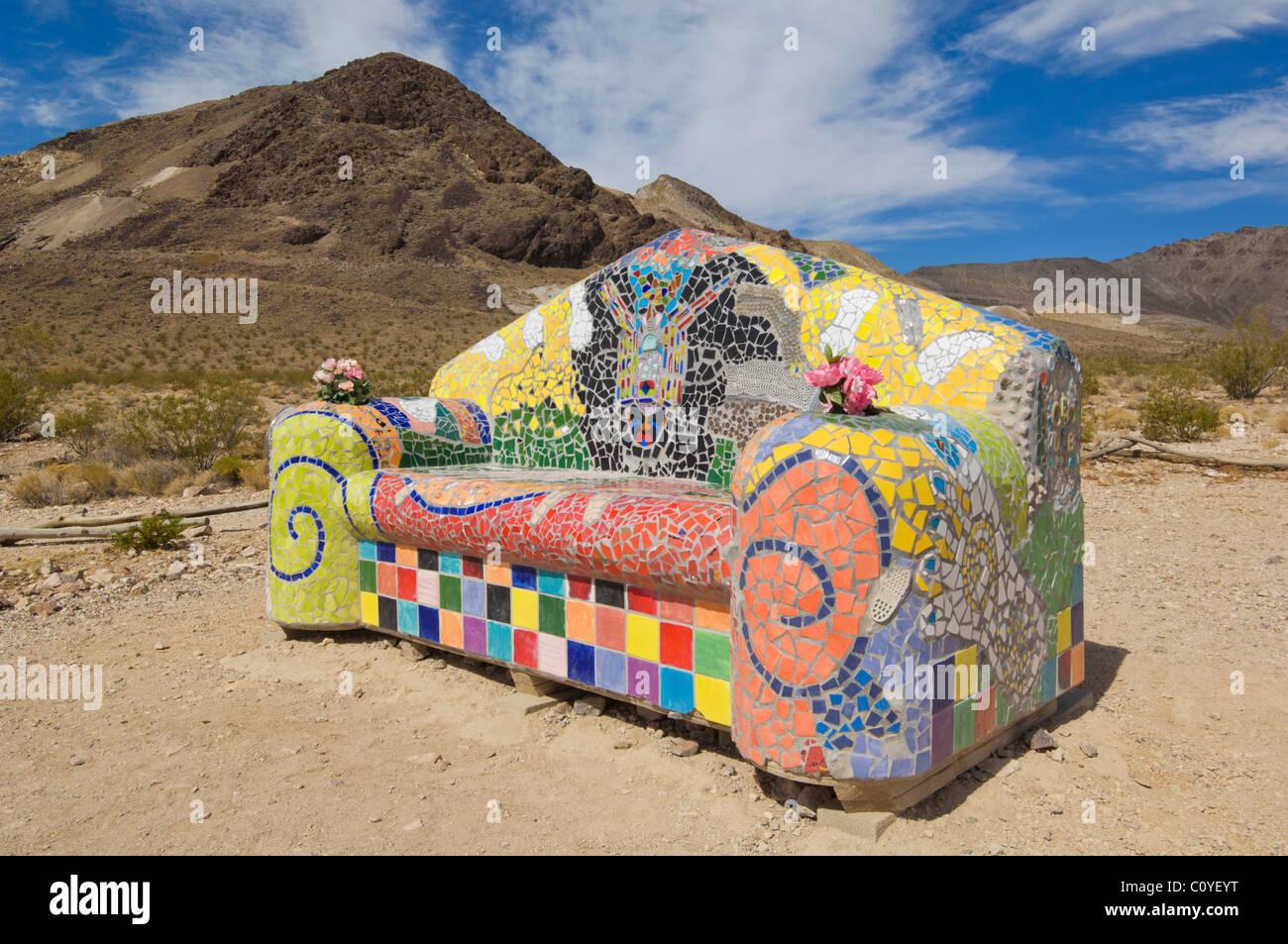 mosaic sofa at the Goldwell Open air museum Rhyolite near Beatty nevada USA - Stock Image