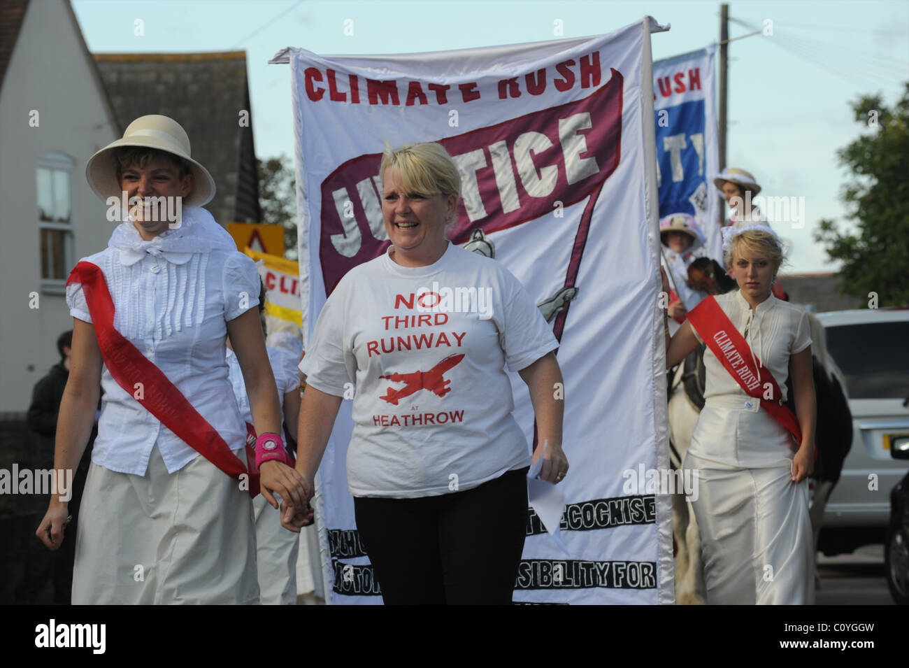 Members of Climate change Campaign Group Climate Rush with Residents of Sipson village protest against Heathrow - Stock Image