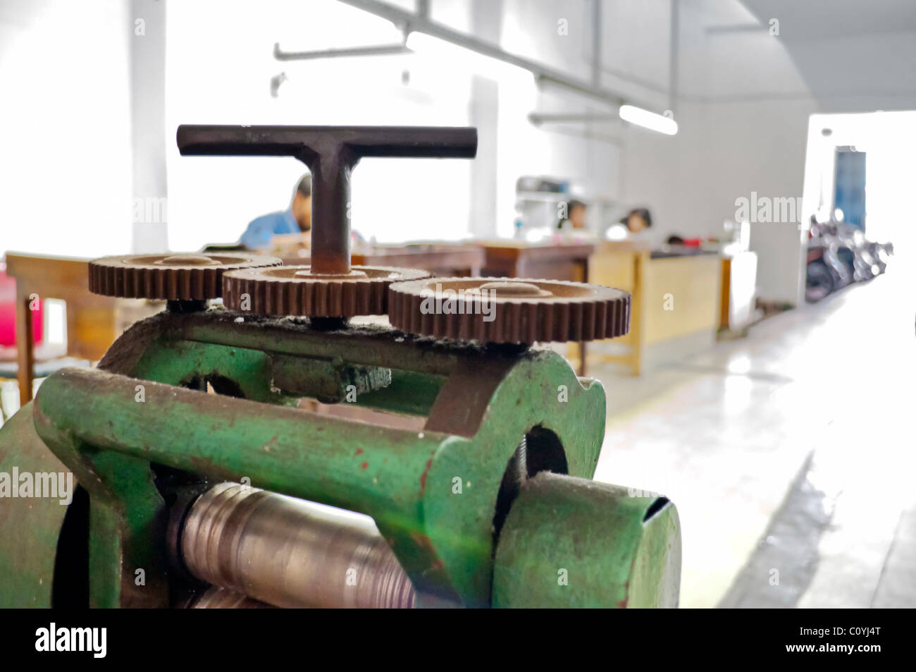 Industrial lathe machine in a workshop industry - Stock Image