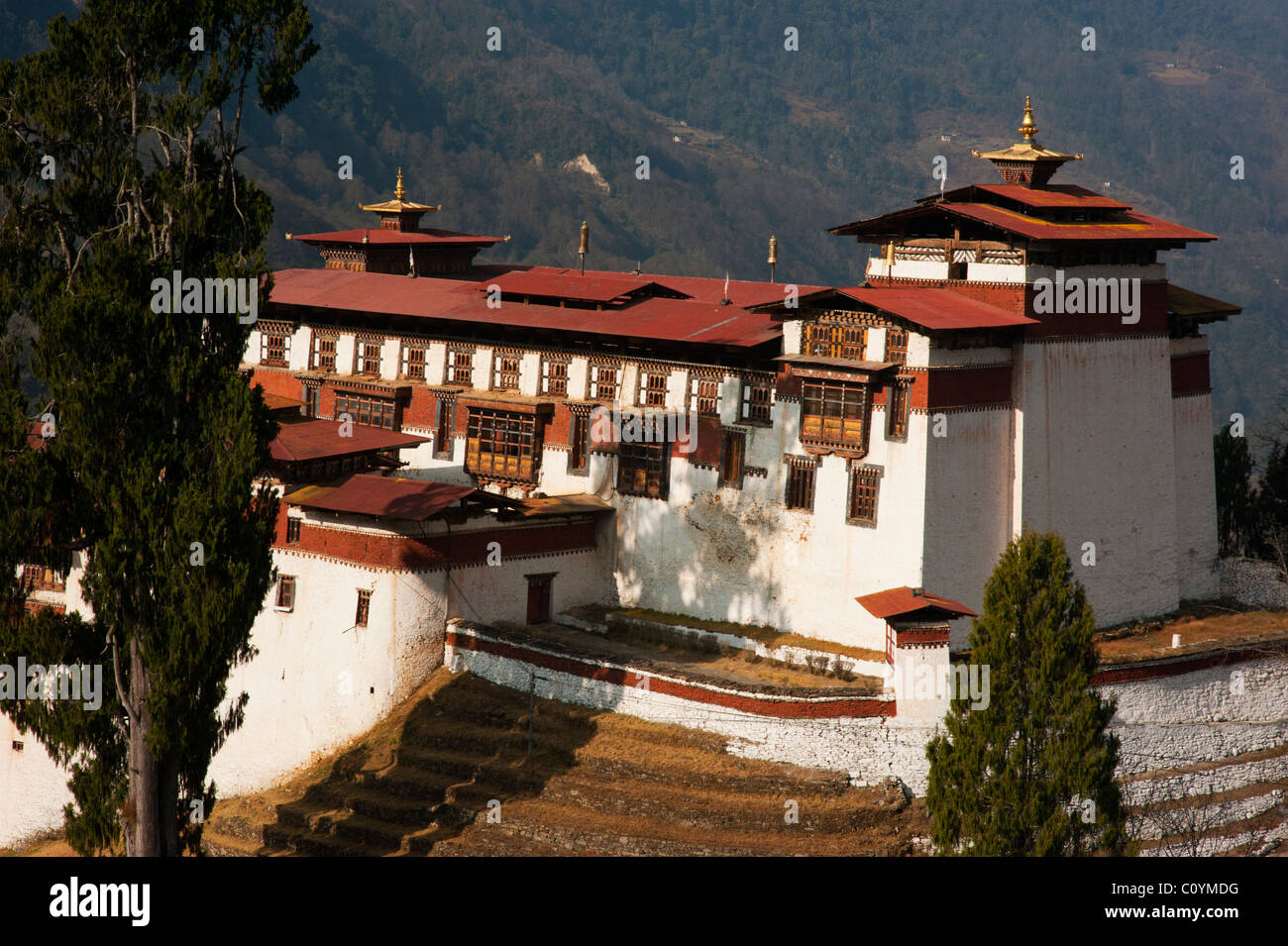 View of the Trongsa dzong in Central Bhutan - Stock Image