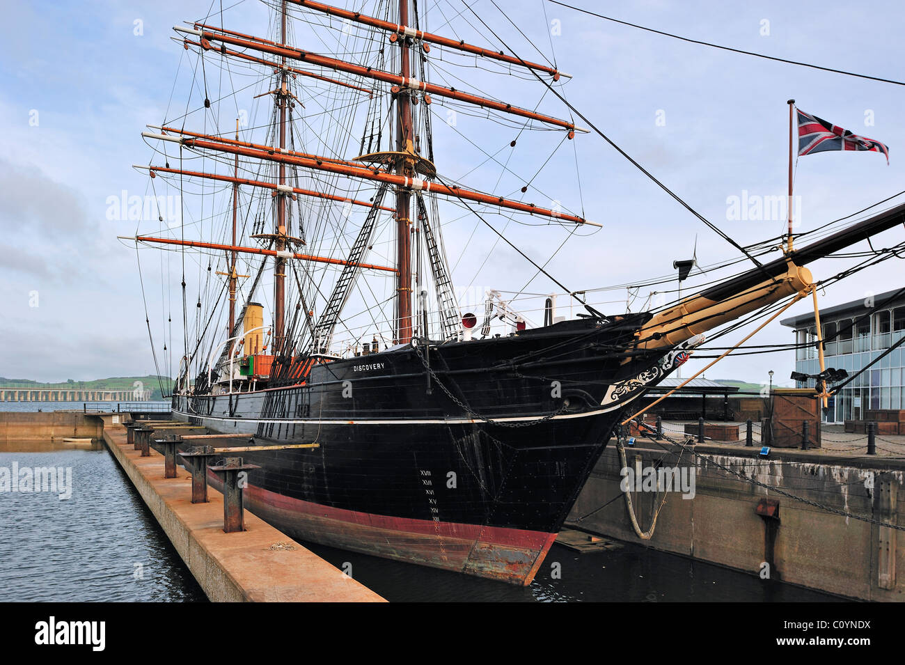 Royal Research Ship Discovery famous by explorer Robert Falcon Scott at Discovery Point, Dundee, Scotland, UK - Stock Image