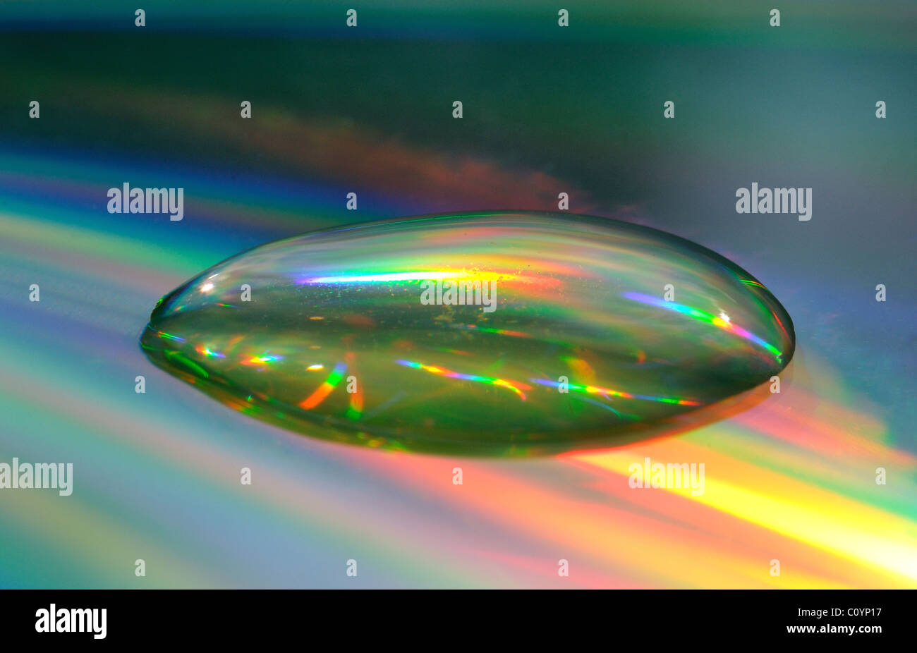 Water bubble showing refracted light - Stock Image