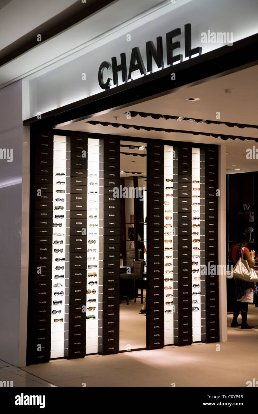 c870e9ed9b12 Luxury / Chanel optician / eye glasses / sunglasses / sun glasses shop /  outlet in departure lounge at London Heathrow airport