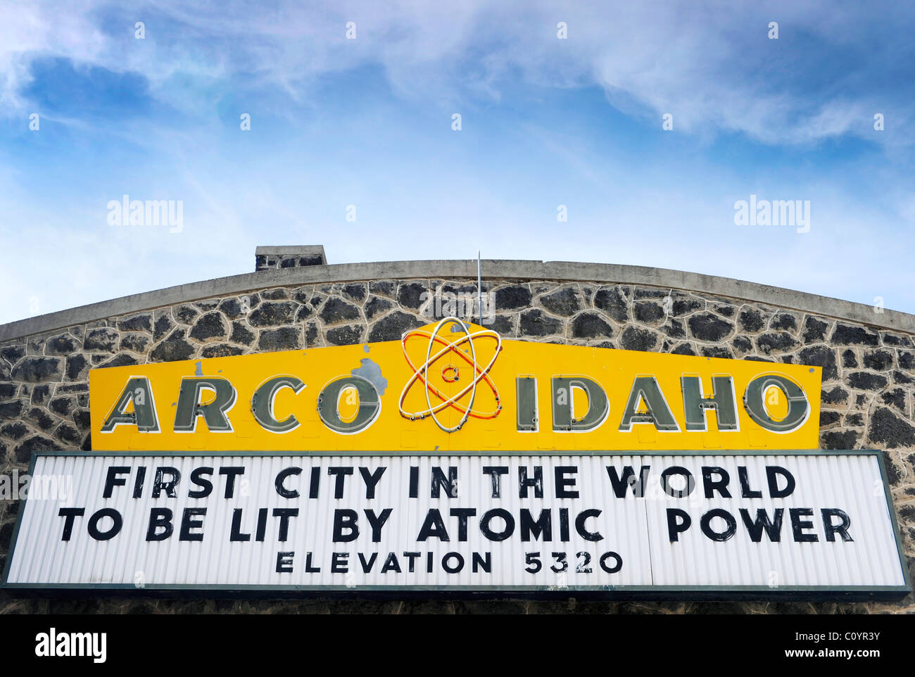 As the sign describes, this was the first ever city to be powered by nuclear energy in 1955. In 1961 one of its - Stock Image