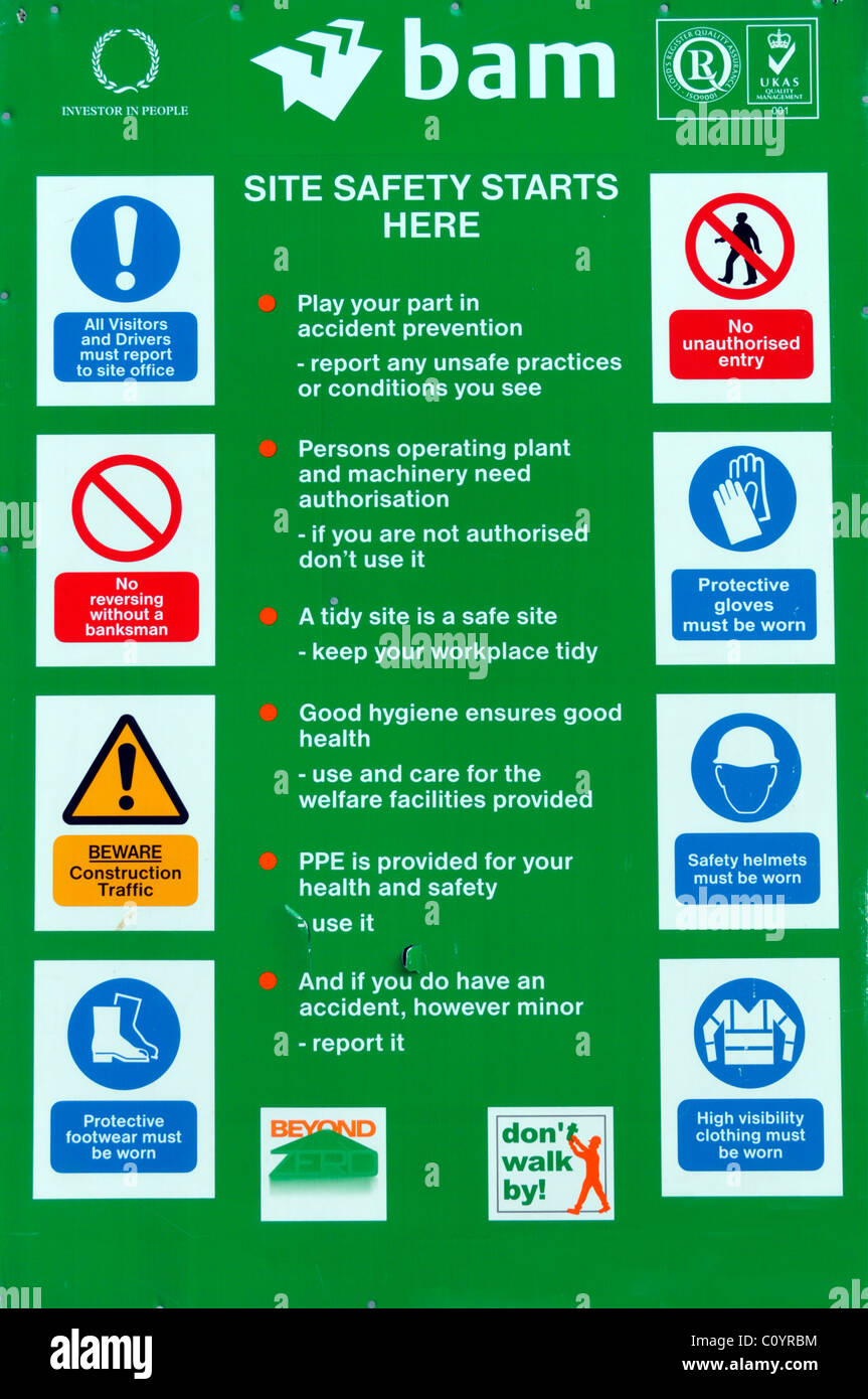 Site Health and Safety poster displayed regulations & requirements to work at entrance to construction building - Stock Image