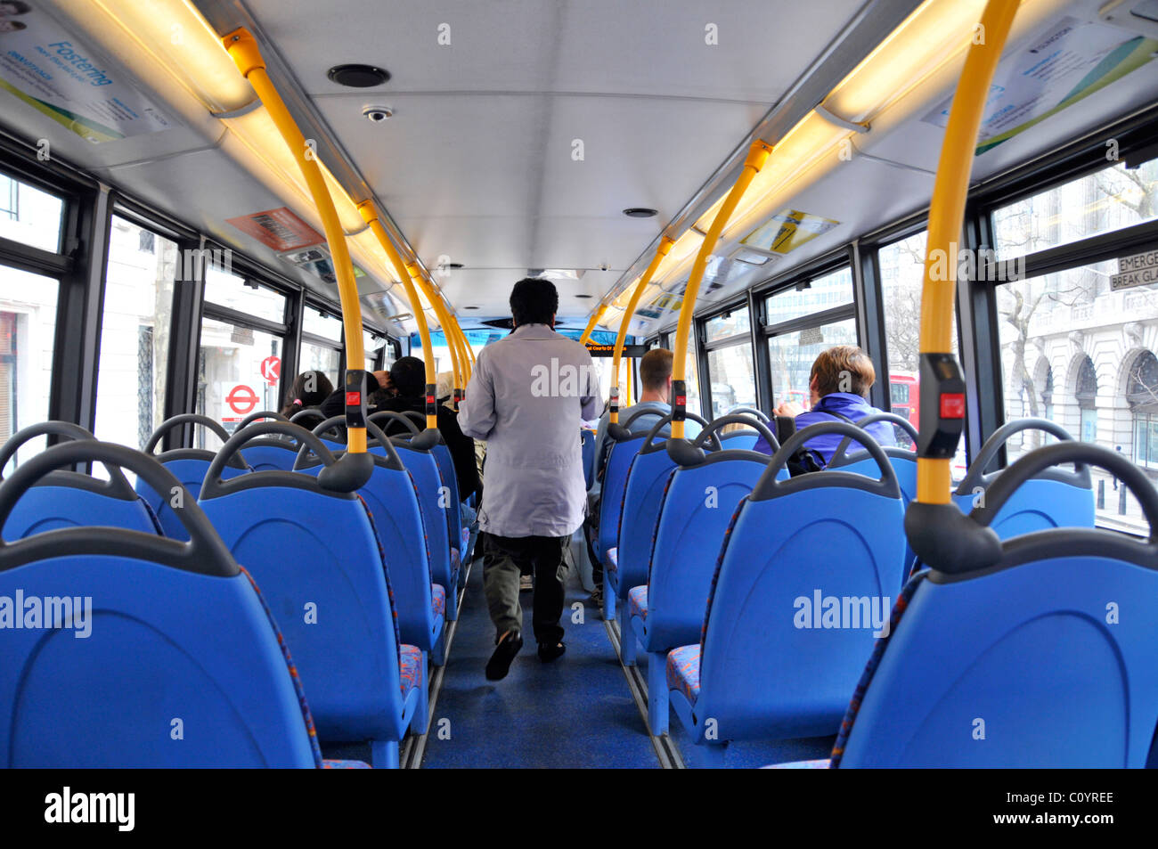 London double decker interior view of top deck Stock Photo: 35031878 ...