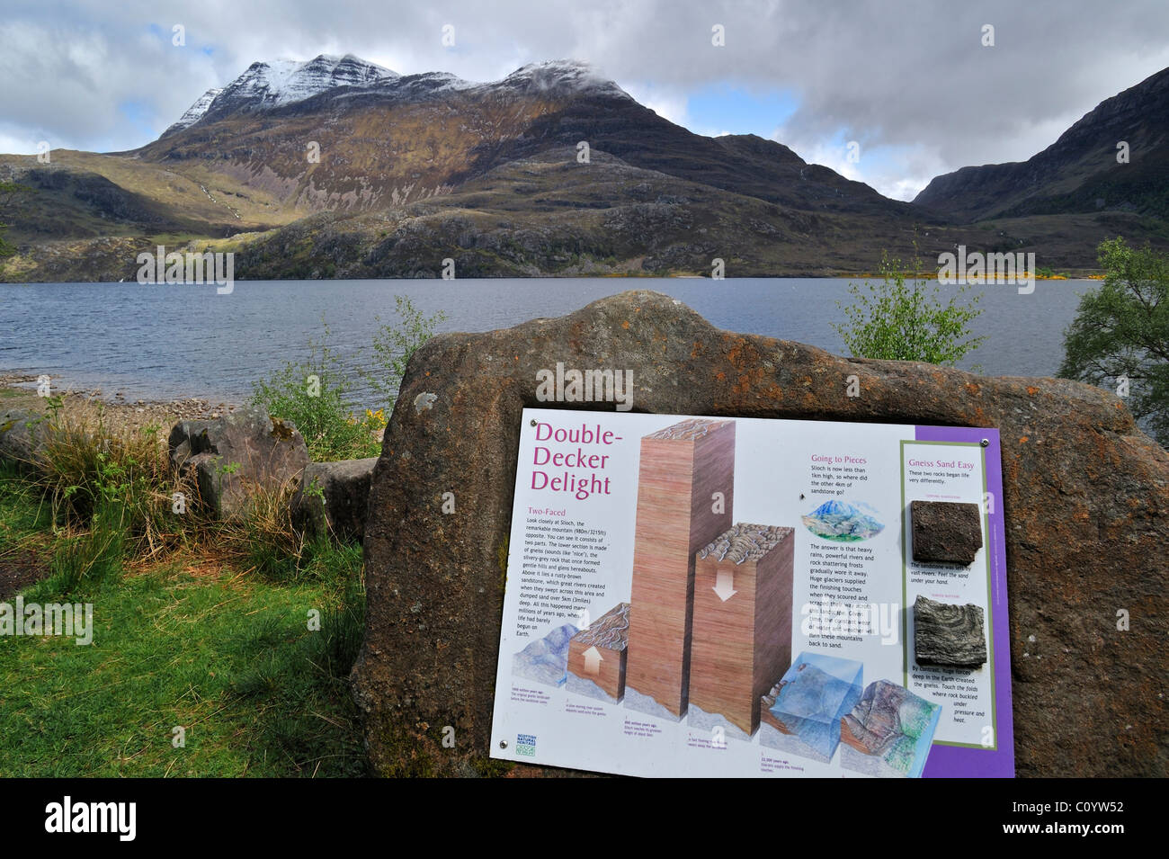 Loch Maree and information panel about the mountain Slioch in Wester Ross, Highlands, Scotland, UK Stock Photo