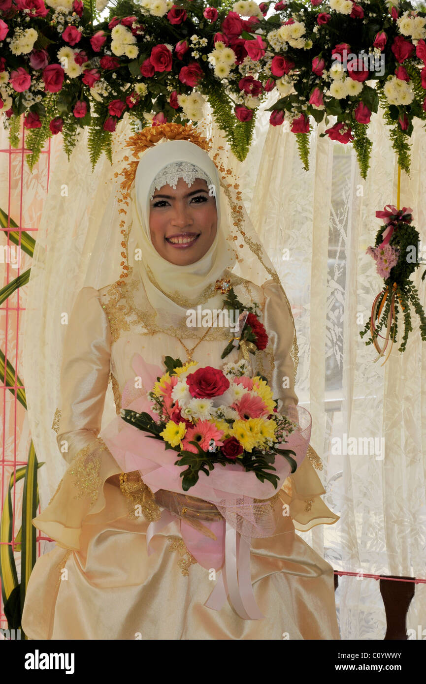 muslim bride, muslim wedding , bangkok, thailand - Stock Image