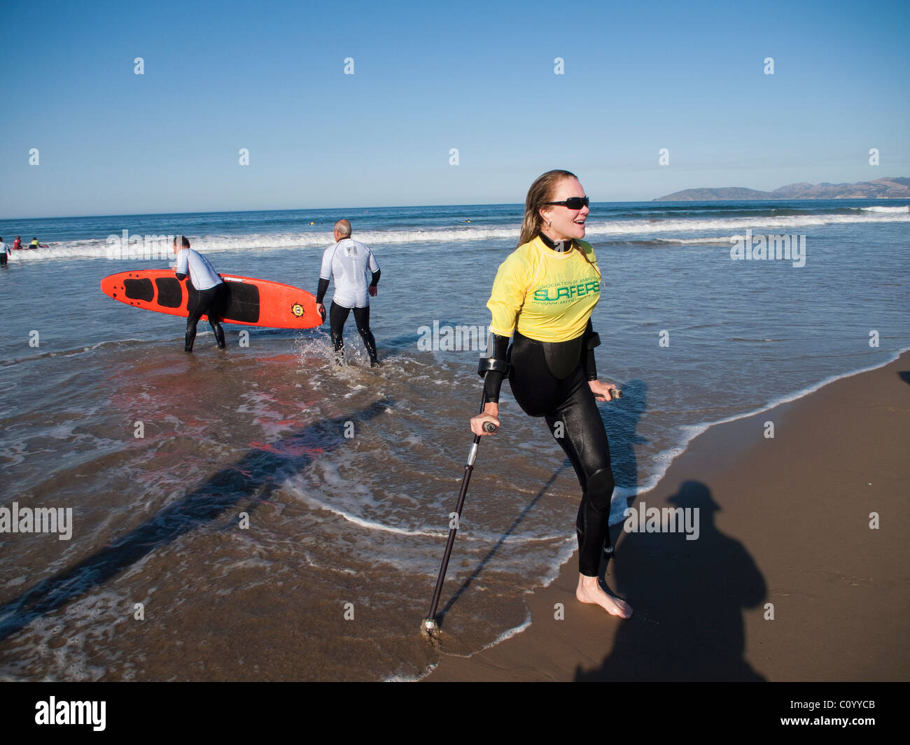 On the beach in Pismo Beach, California, during the Surf Clinic sponsored by AmpSurf, Julie (Jo) Caruthers. - Stock Image