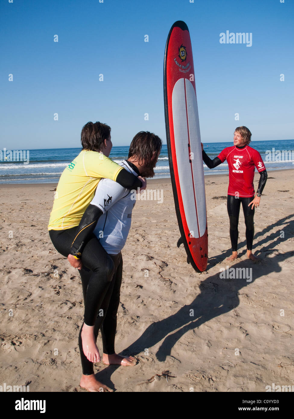 On the beach in Pismo Beach, California, during the Surf Clinic sponsored by AmpSurf. - Stock Image