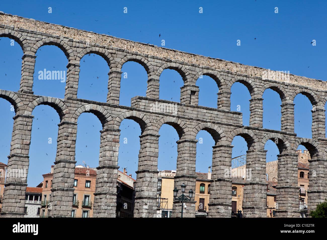 Roman aqueduct located at Plaza del Azoguejo of Segovia (Spain). Acueducto de Segovia (España). Stock Photo