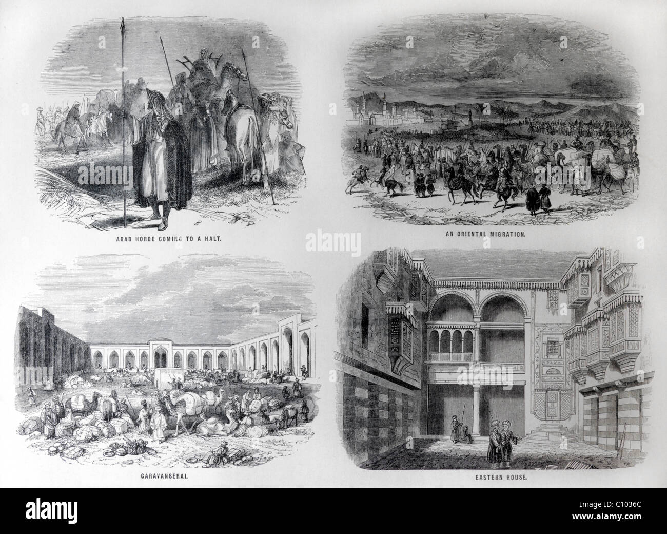 Bible Illustrations Of Arab Horses Coming To A Halt, An Oriental Migration, Caravanseral And An Eastern House - Stock Image