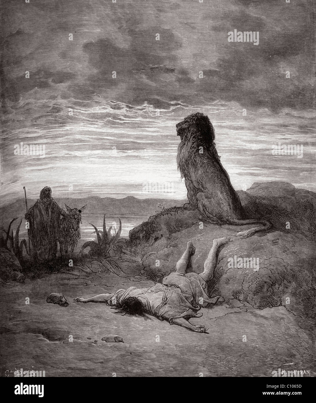 Bible illustration Of The Disobedient Prophet Slain by a Lion By Gustave Dore - Stock Image