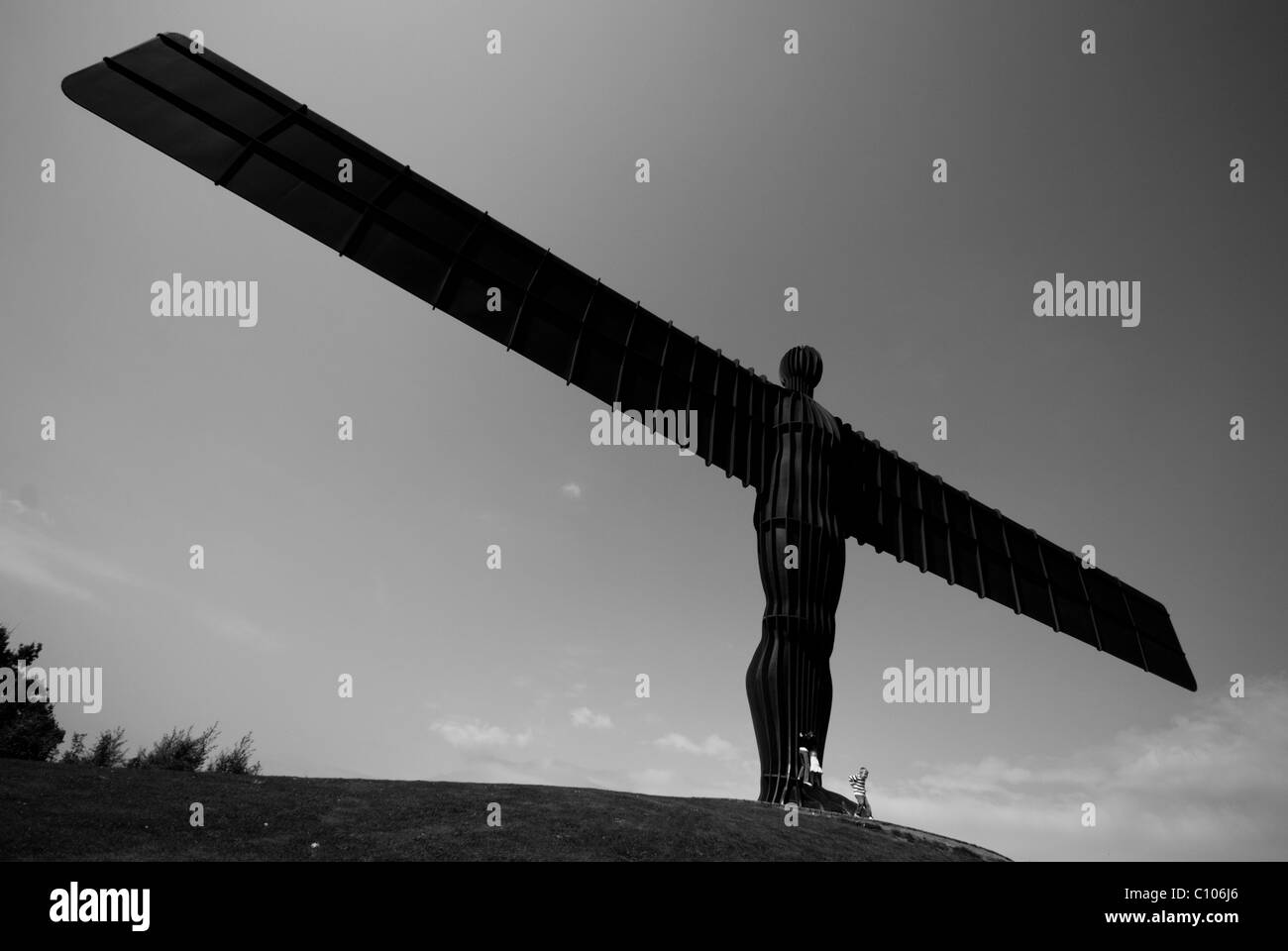 A photograph of the Angel of the North, which overlooks the A1 at Teeside, near to Newcastle and Tyneside - Stock Image