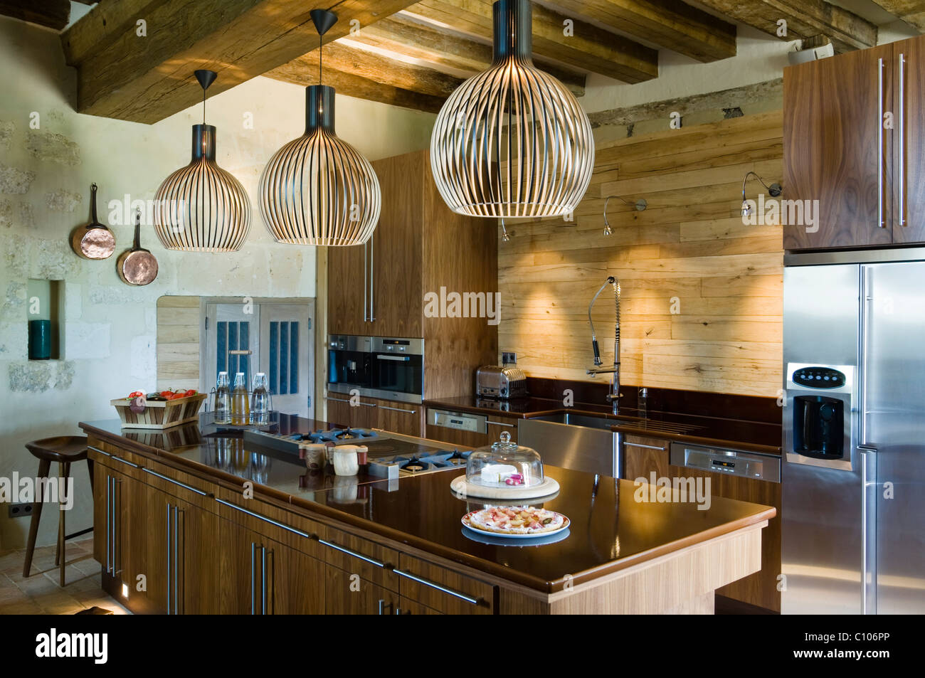 Secto lamps in kitchen with beamed ceiling and asselin birch worktop secto lamps in kitchen with beamed ceiling and asselin birch worktop aloadofball Images