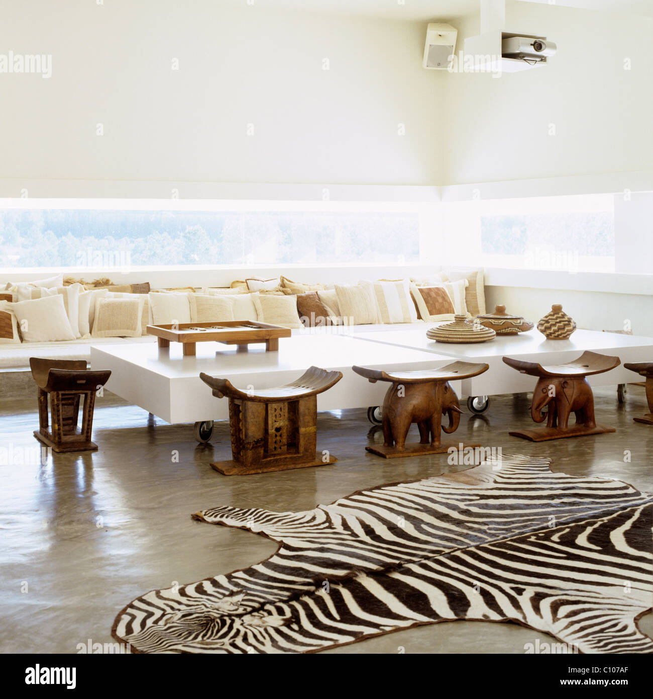 Zebra skin rug in open-plan living room with concrete flooring and ...