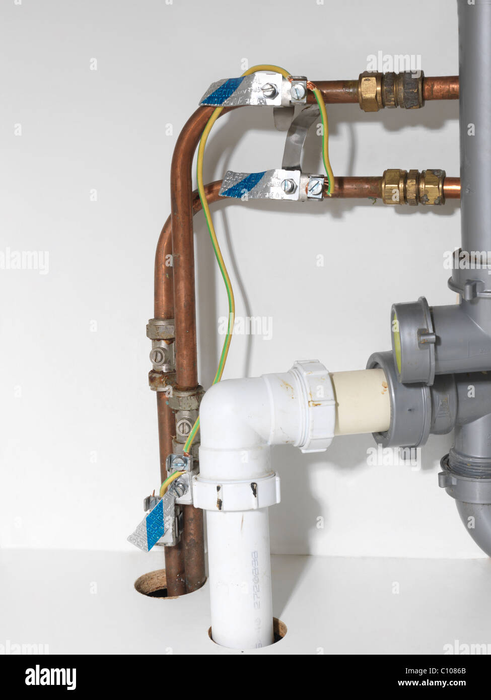Earth Bonding Wires And Copper Pipes Under Kitchen Sink