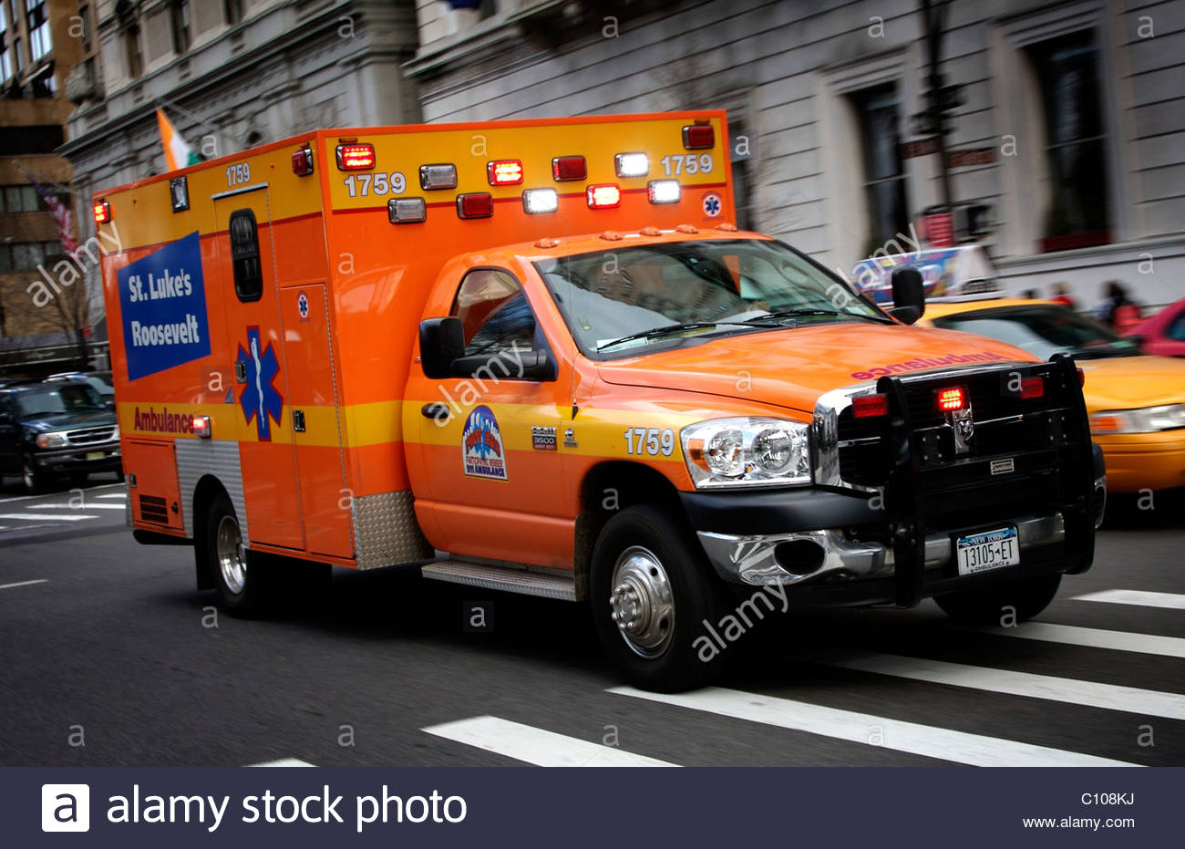 A New York Ambulance on an emergency call in Manhattan, New York, USA - Stock Image